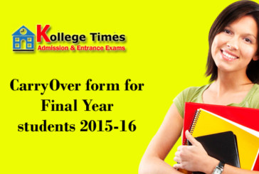 CarryOver form for Final Year students 2015-16